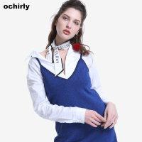 [9月12日3件7折到手价:70元]ochirly欧时力新女装宽松刺绣不规则中长棉质长袖衬衫1JJ3012550