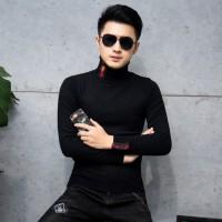 韩版紧身潮男士毛衫2018冬新款男士帅气高领毛线衣青年时尚针织衫