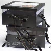 韩版PU透明花盒玫瑰花鲜花包装盒花束材料花艺礼品盒心形圆形套二 拉菲尔大方盒【黑色】套二