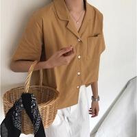 韩版宽松西装领短袖衬衣女装夏装2018新款复古气质翻领衬衫上衣潮 均码