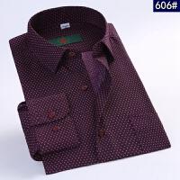 春季中年男士长袖衬衫商务休闲正装棉爸爸中老年男装印花衬衣 606# 38