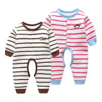 婴儿保暖连体衣开档0-6个月1岁宝宝外出长袖轻薄夹棉秋冬款爬爬服