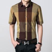 青年男装夏季男士短袖衬衫男寸衫韩版修身纯棉格子衬衣半袖男上衣