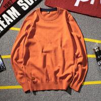 冬季日系圆领毛衣男士大码韩版修身学生针织衫潮流毛线衣套头男装
