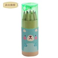 12色彩色铅笔可爱宝宝绘画笔素描笔彩铅套装小学生彩铅笔学习文具SN3909 mini熊绿色