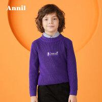 【3件3折:80.7】安奈儿童装男童冬季新款简约大气精致绣花中领毛衣