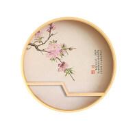 新中式圆形玄关装饰画禅意实木餐厅壁画过道茶室背景墙挂画置物架 直径70cm 圆形实木框(Z字置物架) 随机送摆