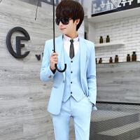 春夏西服套装男三件套韩版修身小西装男士职业装礼服学生帅气正装