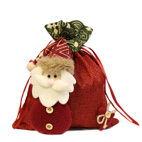 圣诞节装饰品 礼物袋创意 苹果袋子平安果包装盒圣诞袜子儿童小礼品糖果袋 BX 红色老人(中号)