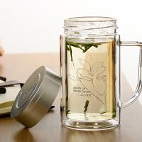 双层玻璃杯透明带盖无茶隔大容量水杯办公杯男士杯子