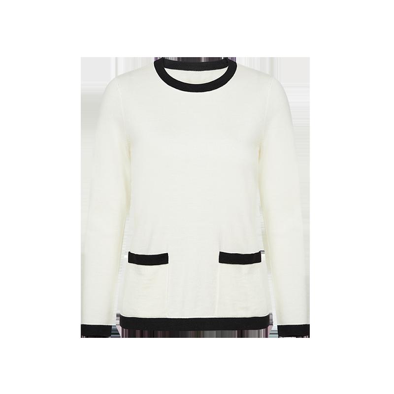 【网易严选 顺丰配送】100%羊毛 女式小香风针织羊毛套头衫 尊重极简的优雅上身感