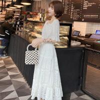 连衣裙女夏小香风蕾丝镂空一字肩上衣中长款高腰半身裙两件套Y04 图片色 X