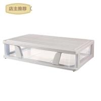 塑料大号床底收纳箱衣柜宝宝衣物透明整理箱玩具储物箱滑轮整理箱SN5518 透明 Y ― 63*39*15.5cm