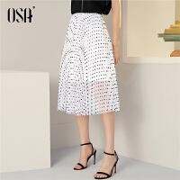 OSA欧莎波点半身裙夏季女中长款2021白色裙子ins超火A字网纱纱裙