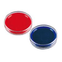 得力 印台 透明圆形快干印台 蓝色 红色印泥 直径约8CM 9863