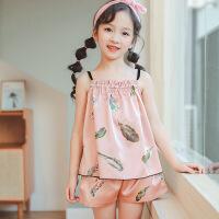 儿童家居服套装夏季新款19女童睡衣两件套中大童仿真丝吊带空调服