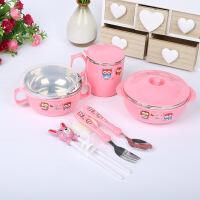 儿童餐具不锈钢碗套装带盖碗婴儿碗勺子学习筷儿童碗宝宝碗