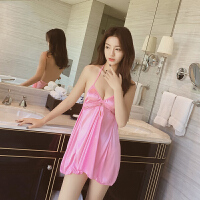 性感情趣睡衣女超薄透明冰丝韩版睡衣深V诱惑吊带睡裙 粉红色 155(S) 适合体重40kg到50kg