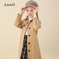 【活动价:432】安奈儿童装女童风衣外套中长款2020春季新款女宝宝英伦风休闲外套