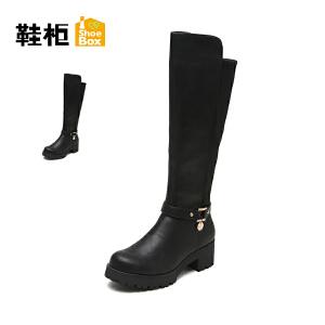 【双十一狂欢购 1件3折】Daphne/达芙妮旗下鞋柜 冬季时尚个性女靴中跟方根长筒靴女