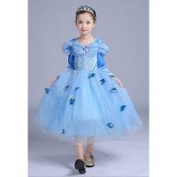 冰雪奇缘爱莎公主裙子 灰姑娘长袖艾莎连衣女儿童冬款圣诞节演出
