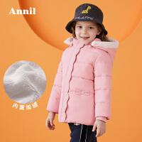 【活动价:249.5】安奈儿童装女童带帽中长款棉衣2019冬装新款