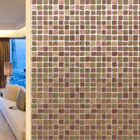 马赛克静电无胶玻璃贴纸淋浴房卫生间浴室磨砂贴膜窗贴透光不透明 彩绘马赛克(A咖啡棕)