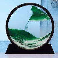 沙漏摆件家居装饰品3d实木流沙画现代简约客厅办公室创意生日礼物