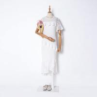小谷女装F#6 夏季气质纯色鱼尾裙韩版蕾丝拼接修身百搭连衣裙