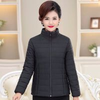 妈妈装冬装轻薄中老年女装冬装棉衣中年女装 黑色 【质量保证】 XL 【建议80-103斤】