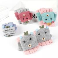 儿童手套秋冬新品厚款保暖可爱针织女孩五指翻盖学生手套