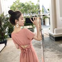 普吉岛沙滩裙女海南三亚海边度假气质超仙泰国性感露背雪纺连衣裙