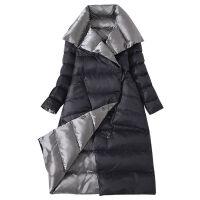 2019冬季韩版双面羽绒服女中长款修身显瘦时尚加厚过膝外套 S 90-105斤