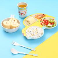 竹纤维宝宝分隔餐盘套装创意卡通汽车盘碗组合儿童可爱盘叉勺餐具