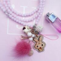 手机挂绳女款挂脖绳韩国个性创意潮女手机壳通用玻璃珠子长挂饰链