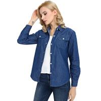新款春装2018大码女工装牛仔上衣长袖休闲衬衫夏季薄款外套工作服