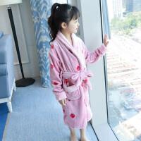 女童睡袍秋冬季�和�浴袍珊瑚�q中大童家居服法�m�q小女孩公主厚款