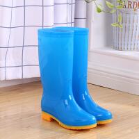 高筒雨鞋女水靴滑果冻色长筒水鞋绒套鞋女士雨靴