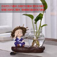 创意家居摆件小花器玻璃花瓶家居装饰品水培花插花瓶陶瓷玻璃水培 玫红色 草帽-不看