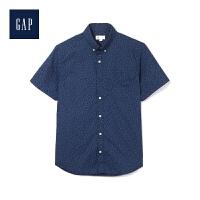 Gap官方旗舰店 男装 弹力府绸印花短袖衬衫 441130