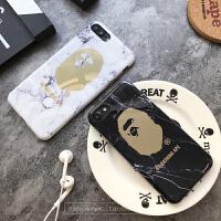 bape手机壳7p苹果6plus潮牌男黑色个性大理石纹iphone6s全包边软i iphone X 黑色bape