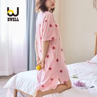 【11.2-11.7 大牌周 满100减50】BWELL 新款夏短袖睡衣圆领可爱甜美吊带草莓睡裙家居服