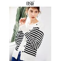 【2件3折价:62.3】OSA欧莎2019秋装心机毛衣设计感长袖黑白条纹毛衣针织开衫女