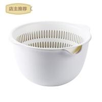 日式双层沥水篮厨房洗菜盆客厅水果盘 家用小号塑料菜篮子洗菜篮SN0569