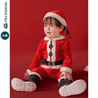 迷你巴拉巴拉婴儿连体衣男女宝宝圣诞节天鹅绒哈衣爬服2019冬新款
