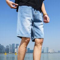 牛仔短裤男潮流破洞薄款宽松休闲五分裤韩版潮牌男装夏季七分裤子涂