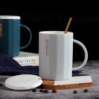 【特惠购】情侣杯子一对创意早餐杯子陶瓷带盖勺办公室家用男女咖啡杯马克杯