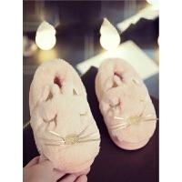 儿童棉拖鞋冬季兔子男女童居家拖鞋厚底fang滑保暖包跟宝宝棉鞋