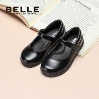 【券后�r:219元】百��童鞋�和��W生鞋女2021春季新款女童英���L校�@�Y�x鞋黑色皮鞋
