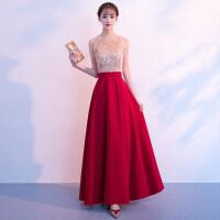 敬酒服新娘夏季2018新款红色长款高贵优雅结婚晚礼服裙女名媛宴会